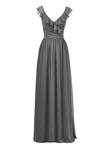 Dress Dress Bridesmaid Evening Gray Steel Maxi Cocktail Party Dresses Alicepub Ruffles Long 6fnzqnxT