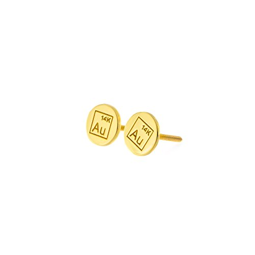Automic Gold Solid 14k Yellow Gold Disk Earrings