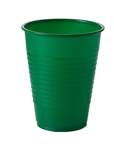 Exquisite 12 oz Emerald Green Plastic Cups II 50 Count Bulk Pack Disposable Party Cups II Premium Quality Plastic Tumblers for Parties