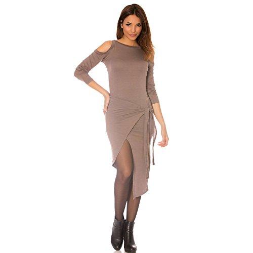 Miss Wear Line - Robe porte feuille taupe, asymétrique et épaule nue