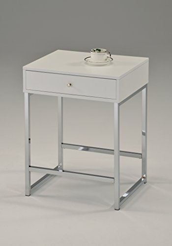 White Chrome Finish Modern Accent Side End Table Nighstand with Drawer