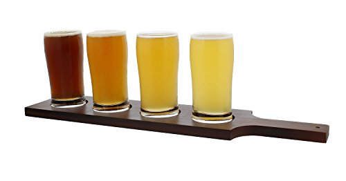 Beer Flight Set with (1) Wooden Flight Paddle and (4) 5oz Ounce Glasses – Sampler Kit for Beer Tasting (Flight Sampler)