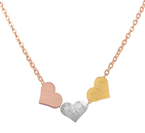 (Altitude Boutique Brushed Three Heart Necklace Triple Tone (Gold, Silver, Rose Gold) (Rose Gold Chain))