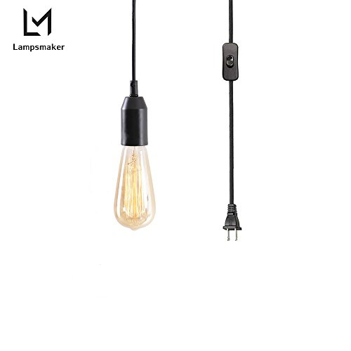 Pendant Lighting Lampsmaker Vintage Edison 1-Light Simple Mini Pendant Lamp for Kitchen island, Black Plastic Cord Socket, On-Line On/Off Switch, S82755 (Ceiling Fan Patio Aluminum Cover Mount)