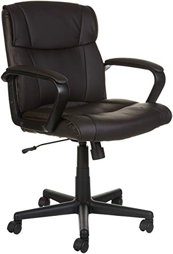 AmazonBasics Classic Leather-Padded Mid-Back Office Computer Desk Chair with Armrest - Brown