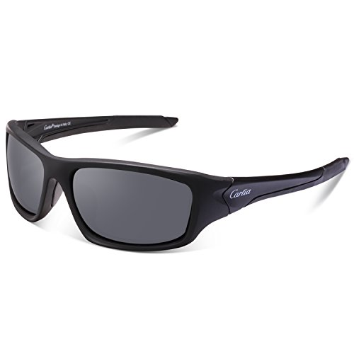 Sports Sunglasses - Carfia Polarized Sunglasses for Men Women Baseball Running Cycling Fishing Golf TR90 Unbreakable Frame (Black - Good Sunglasses Are What