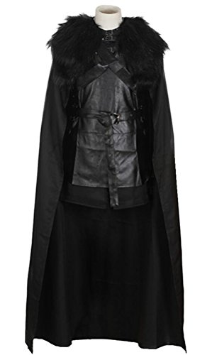 OSHARE Halloween Costume Adult Men, Hero Cosplay Battle Uniform Full Set Cloak Black (Fun World Costumes Canada)