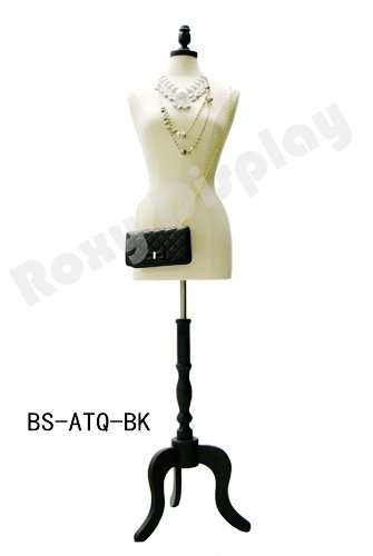 Female Body Form Black jersey form with Tripod Black Wooden Base FWP-BK-JF+02BKX-BS solid foam.