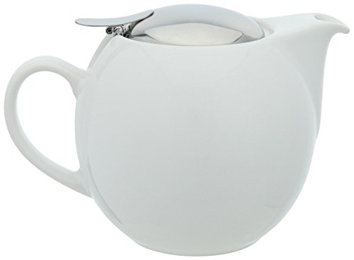 Bee House White Teapot with Infuser 26 Oz.