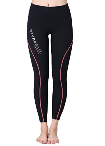 Damen Badehose 1.5mm Neopren Hosen lange Schwimmhose Surfhose Wassersport Schwarz mit Rot L