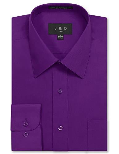 JD Apparel Mens Long Sleeve Regular Fit Solid Dress Shirt 18-18.5 N 34-35 S Purple,XX-Large