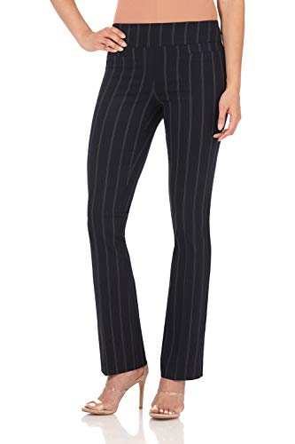 (Rekucci Women's Ease in to Comfort Boot Cut Pant (4SHORT,Navy Stripe))