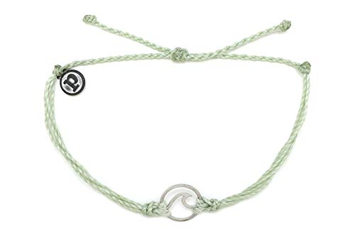 Pura Vida Silver Wave OG Mint Green Bracelet - Silver Plated Charm, Adjustable Band - 100% Waterproof