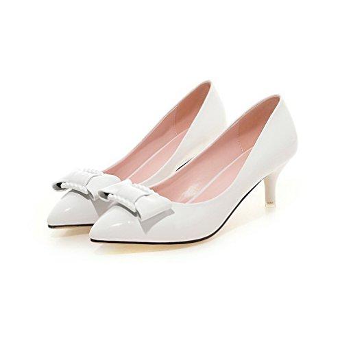 VogueZone009 Damen Mittler Absatz Lackleder Rein Ziehen auf Spitz Zehe Pumps Schuhe Weiß