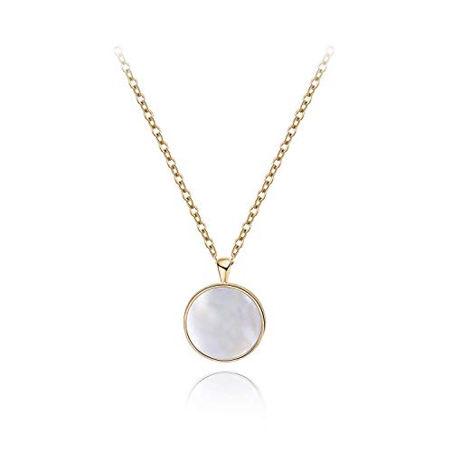 S.Leaf Minimalism Round Mother of Pearl Necklace Sterling Silver Circle Disc Pendant Shell Pendant (Gold)