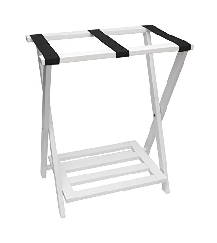 Lipper International 502W Right Height Folding Luggage Rack with Bottom Shelf, White Finish