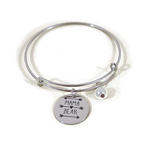 (Mama Bear Message Charm Expandable Wire Bracelet Bangle Women Girls Gift Summer Jewelry- Mama Bear Adjustable Bracelet Gift for Mom Mum Inay Ibu Mommy Mama Grandma Nana Nanay Madre-Family Jewelry Gift)