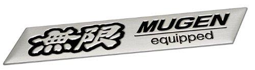 Mugen EQUIPPED Silver Aluminum Emblem Badge Nameplate Emblem Logo Decal Rare JDM for Civic Del Sol accord Prelude Acura Integra MDX Legend RL TL RSX TSX CR-V CRV CRX S2000 Vigor Insight Pilot Odyssey Element Passport EV Plus EX DX LX Si