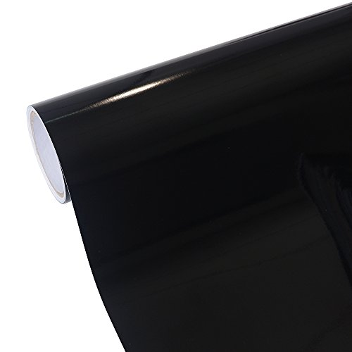 TECKWRAP 12''x10ft Glossy Black Adhesive-backed Vinyl Roll for Sign Plotters, Letters, Decals and Craft ()