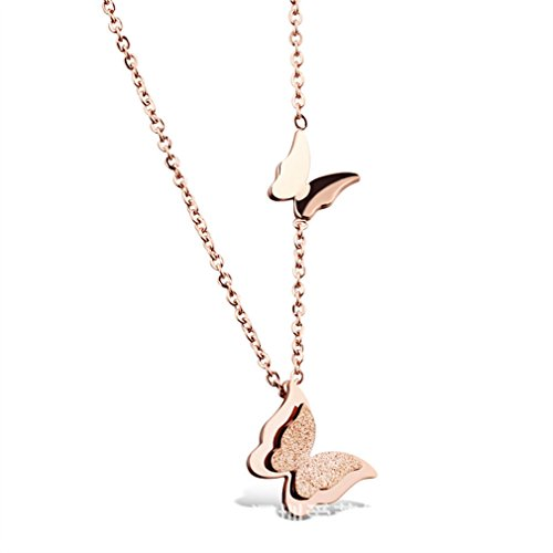 - TraveT Stainless Steel Butterfly Pendant Necklace Charms Clavicle Chain Necklace