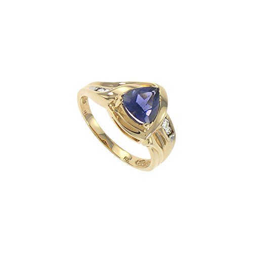 Iolite and Diamond Ring 14k Yellow Gold 1.00 CT TGW ()