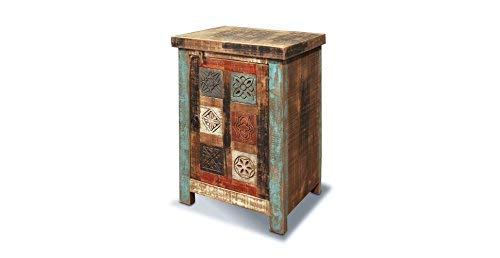 Crafters and Weavers Rustic Distressed Reclaimed Hand Carved Wood End Table or Night Stand ()