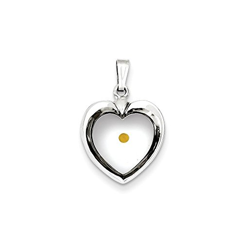 - Sterling Silver Large Heart with Mustard Seed Pendant