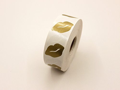 Roll of golden Lips Tanning stickers, 1000 perforated Stickers on roll