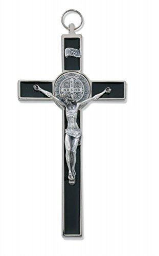 (McVan 8-inch Black Epoxy St. Benedict Crucifix Cross Religious Wall Décor)