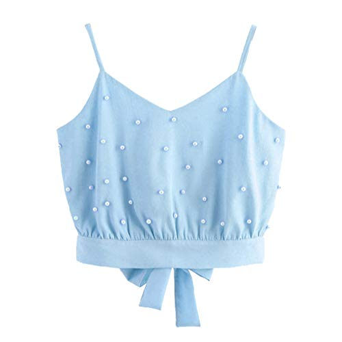 Fashion Women Vest Chiffon Camisole Sleeveless Tops Solid Pearl Beading Camis Blue