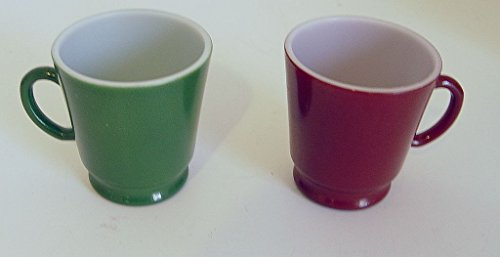 Set of 2 Anchor Hocking Small 5 Ounce Red and Green Milk Gla