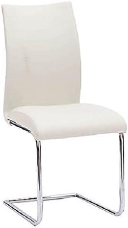 Arredo & Design Italy 4 Sedie in Ecopelle Bianco con Basamento a Slitta cromata Cucina Sala Ufficio (Bianco Ghiaccio)