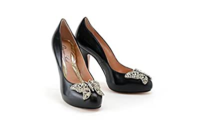 Aruna Seth - Zapatos de Vestir de Encaje para Mujer Negro Negro, Color Negro, Talla 39 EU