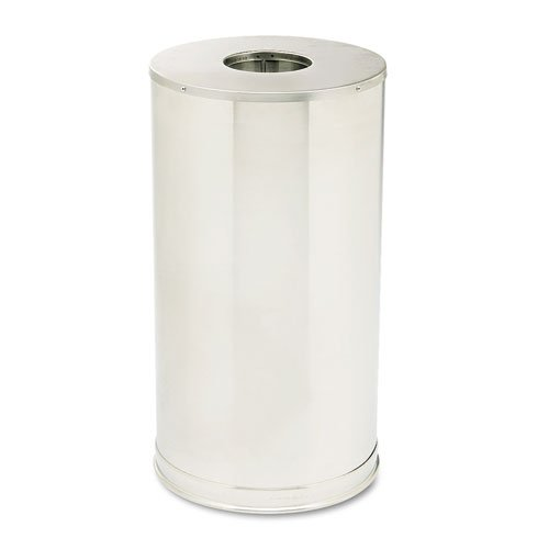 Rubbermaid® Commercial - European & Metallic Series Drop-In Top Receptacle, Round,15 gal, Satin Stainless - Sold As 1 Each - 5 1/2