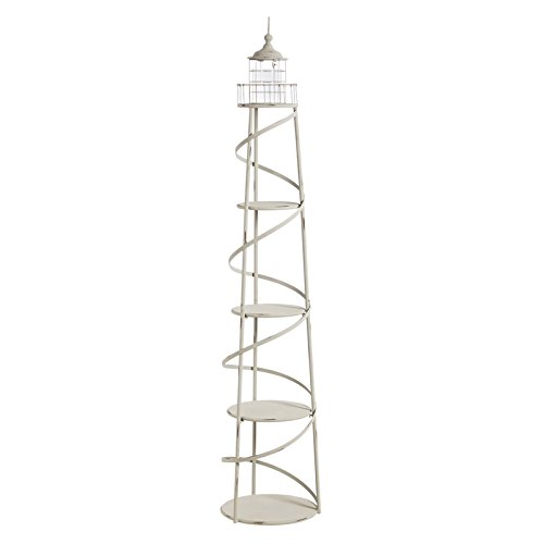 [5 Tier Metal White Distressed Lighthouse Metal Display Unit with Glass Cylinder for Candle] (Metal Lighthouse)