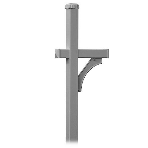 (Salsbury Industries 4870NIC Deluxe Mailbox Post 1 Sided, In-Ground Mounted, Nickel)
