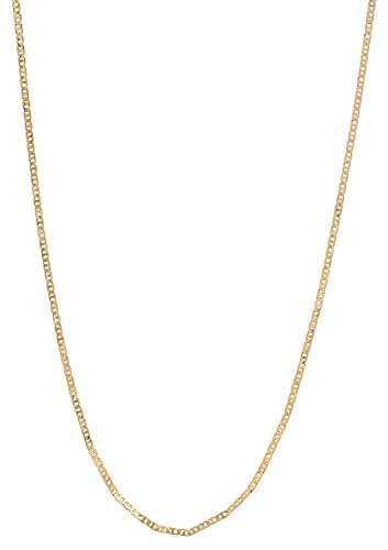 - The Bling Factory 1.5mm 25 Mills 24kt Gold Plated Mariner Link Chain Necklace, 24 inches