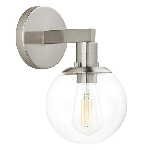 (Sferra LED Industrial Wall Sconce - Brushed Nickel w/Clear Glass Globe - Linea di Liara LL-SC225-BN)