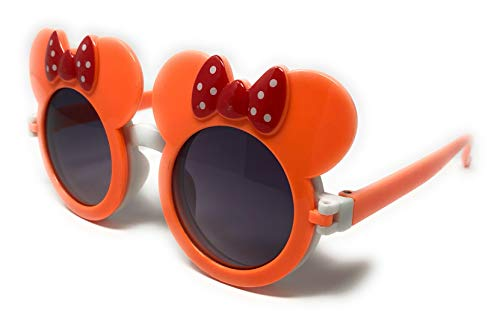 WebDeals - Childrens Super Cute Mouse Ear Round Flip Out Sunglasses (Orange/Red Bows) (With Glasses Bow)