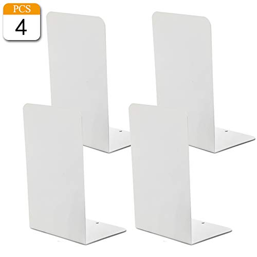 VONDERSO Bookends White, Metal Bookends Heavy Duty for Shelves Decor Home Office, Unique White Bookends Supports Anti-Slip for Kids Girls(2 Pair- 7.8 inches)