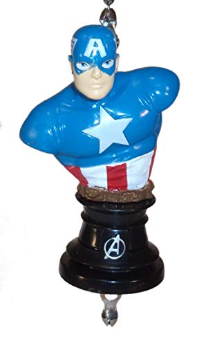 Captain America Avengers Marvel Ceiling Fan Pulls by Wooden Androyd Studio (Capt Amer Bust)