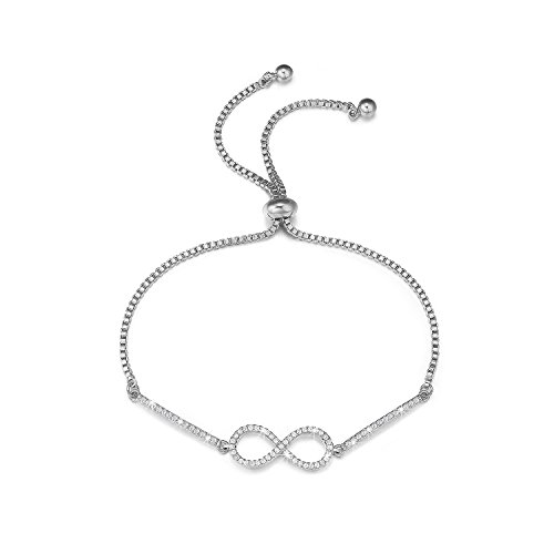 "SPILOVE Forever Love CZ Crystals Infinity Adjustable Charm Bracelets 18k White Gold Plated Chain Fashion Women Wedding Jewelry, 10.2"" from SPILOVE"