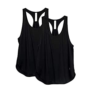 icyzone Workout Tank Tops for Women – Athletic Yoga Tops, Racerback Running Tank Top(Pack of 2)