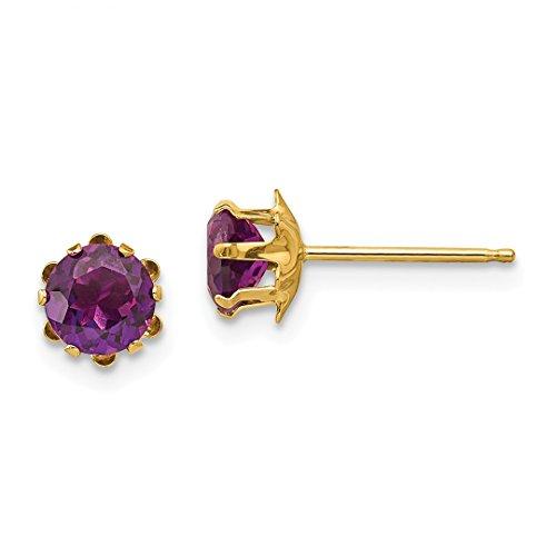 14k Yellow Gold 5mm Synthetic Alexandrite Jun Post Stud Earrings Birthstone June Fine Jewelry For Women Gift Set ()
