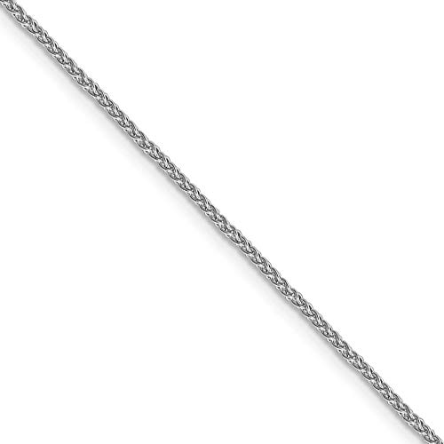 1.5mm 10k White Gold Solid Diamond Cut Wheat Chain Necklace, 18 Inch