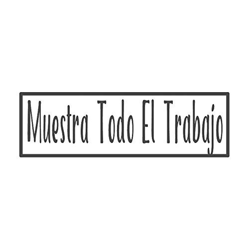 Muestra todo el trabajo con bordo, pre-inchiostrato en Español & Spanish Teacher stamp (# 662707-d), Style D Large size (58 x 18mm) Raissa metallizzate