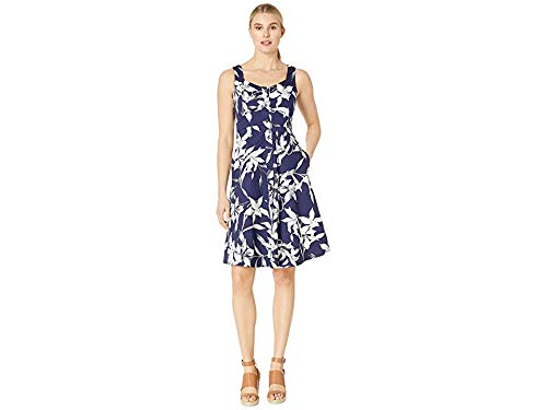 Taylor Dresses Women's Sleeveless Floral Button Front Cotton Sateen Dress, Navy Ivory, 10 ()