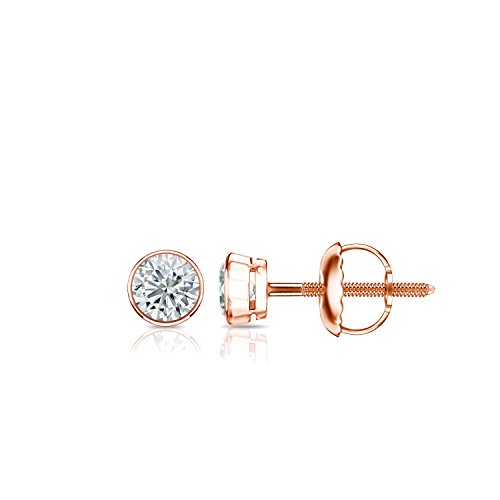 14k Rose Gold Bezel-set Round Diamond Stud Earrings (1/6ct, Good, I2-I3) - 0.075 Ct Diamond