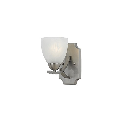 Lumenno Lighting 8001-00-01 Wall Sconce with White Swirl Alabaster Glass Shade, Satin Nickel Finish ()