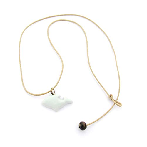 Price comparison product image Onlyfo Simple Style Ceramic Dolphin Pendant Adjustable Rope Chain Necklace with Jewelry Box, Dolphin Necklace for Women (White)